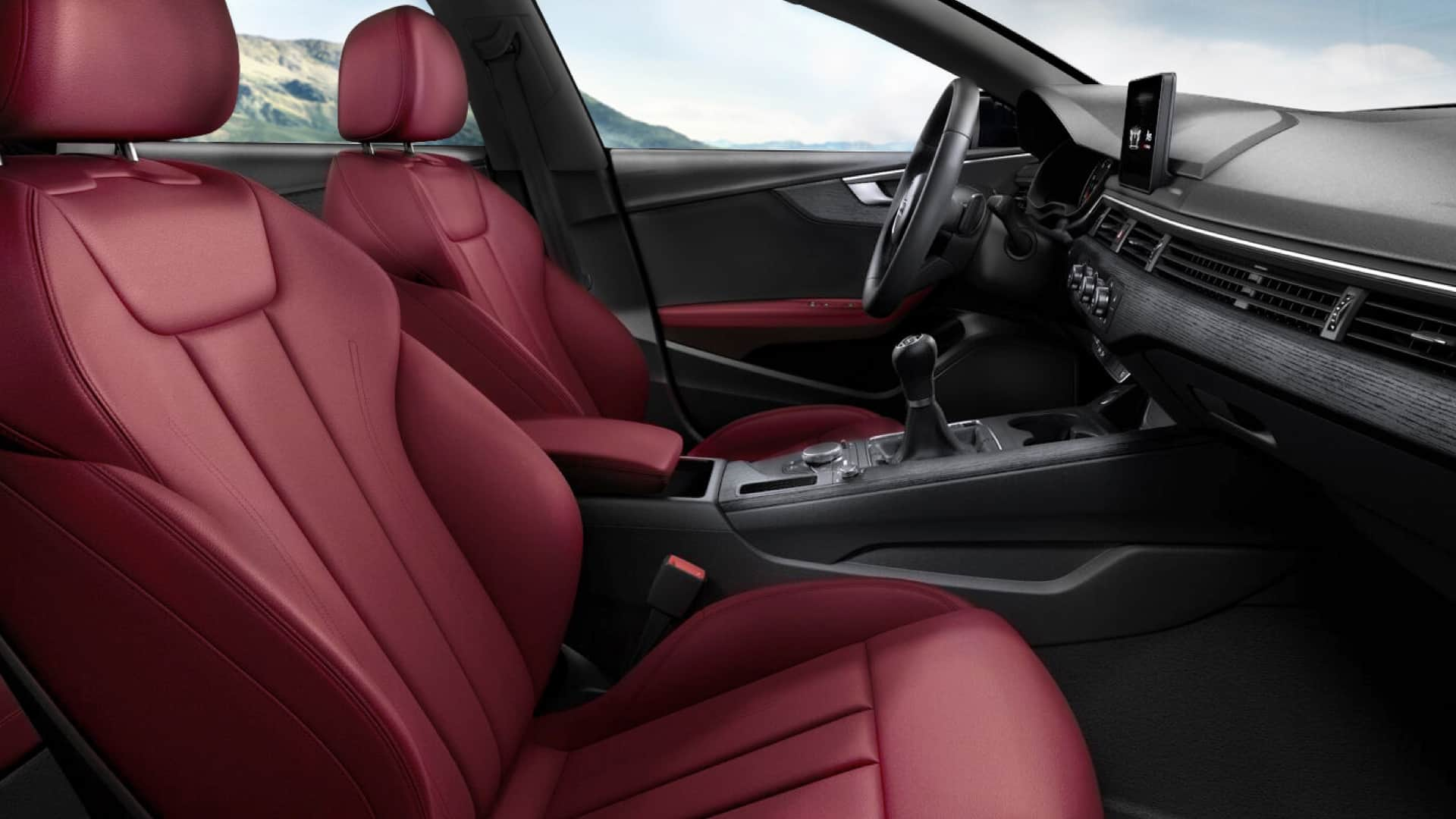 with the audi design selection and the sports seats front and rear in fine nappa leather in arras red